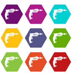 drill icon set color hexahedron vector image vector image