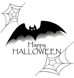 happy halloween concept black bat with text and vector image