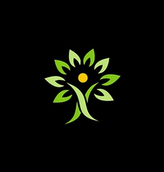 people green tree organic logo vector image vector image