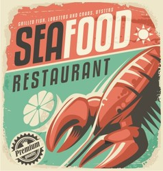 Retro seafood restaurant poster with lobster vector image
