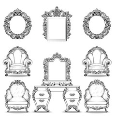 rich baroque rococo armchair and dressing table vector image vector image
