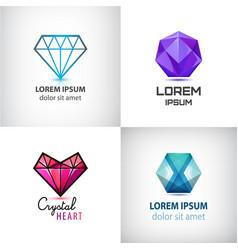 set of jewelery logos diamond vector image