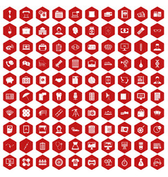 100 department icons hexagon red vector