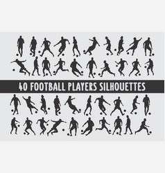 20 footbal players silhouettes various design set vector image