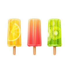 3d fruit popsicle ice cream set vector image