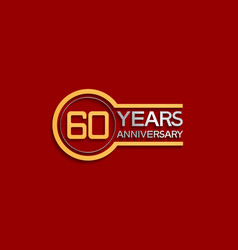 60 years anniversary golden and silver color vector
