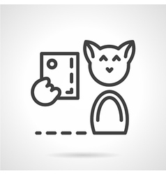 Abstract simple line cat with phone icon vector image
