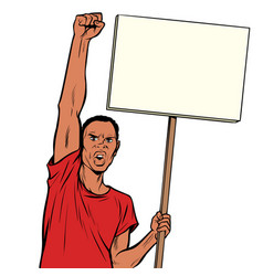 Afrikan man protests with a poster isolate on vector