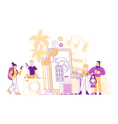 app for tourists concept happy people go travel vector image