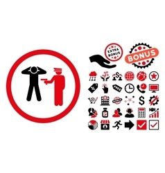 Arrest Flat Icon with Bonus vector image