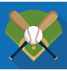 Ball league and bat of baseball sport design vector image