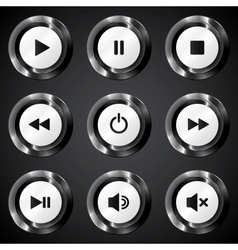 Black metallic power buttons set vector