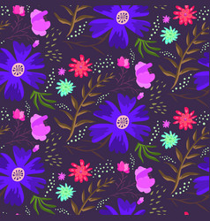 bright blue night floral summer pattern vector image