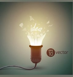 Broken light bulb background vector