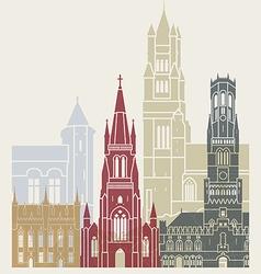 Bruges skyline poster vector