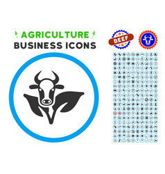 Bull and plant rounded icon with set vector