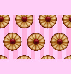 Buttery cookies with red jam on striped sweet pink vector