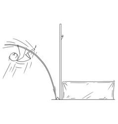 cartoon athlete doing pole vaulting vector image