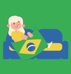 Cartoon Girl Holding a Brazilian Flag on a Sofa vector