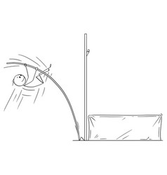 Cartoon of athlete doing pole vaulting vector