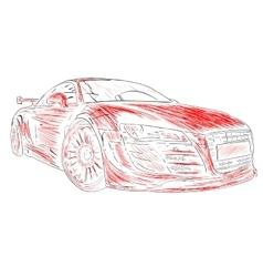 Chalk car design red vector image
