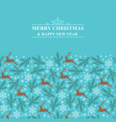 christmas card with deer fir branches and vector image