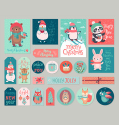 Christmas cards and gift tags set with animals vector