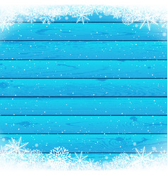 christmas snowfall blue wood vector image