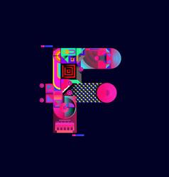 Colorful alphabet font letter f for logo vector