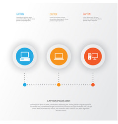 computer icons set collection of laptop monitor vector image