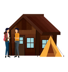 Couple with log cabin with tent vector