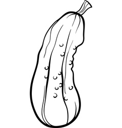 cucumber vegetable cartoon for coloring book vector image