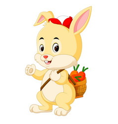 cute rabbit bring a carrot basket vector image