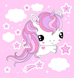 cute white unicorn among the clouds on a pink back vector image