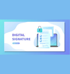 Digital signature on electronic contract web vector