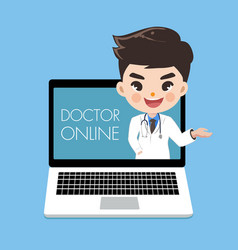 Doctor advise patients through online in vector