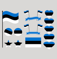 estonia flag set collection of symbols heart vector image