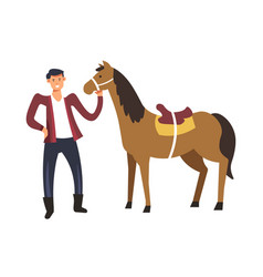 Farm and person caring for horse farming isolated vector