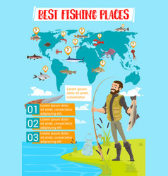Fishing place map infographics vector
