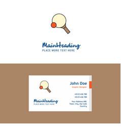 flat table tennis racket logo and visiting card vector image