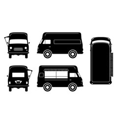 food truck black icons vector image