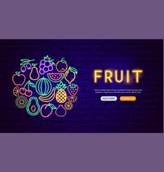 fruit neon banner design vector image