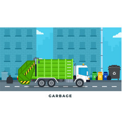 garbage truck trash can on city street vector image
