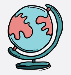 globe color icon drawing sketch hand drawn line vector image