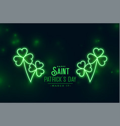 glowing clover neon green leaves st patricks vector image