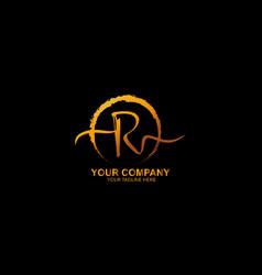 Hand drawn brush logo letter r logo design vector