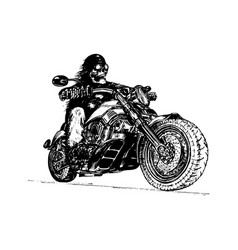 Hand drawn skeleton rider on motorcycle vector