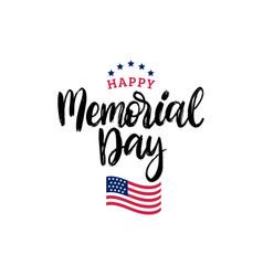happy memorial day handwritten phrase vector image