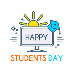 Happy students day learning graduate vector