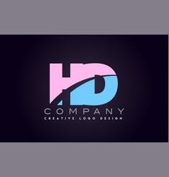 Hd alphabet letter join joined letter logo design vector